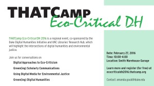Eco Critical THATCamp flyer for Duke Screens